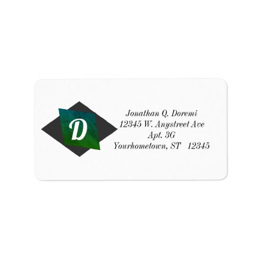 Black and Green Rhombus Label