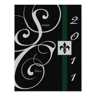 Black and Green Scroll Ribbon Graduation Announcement