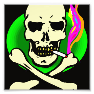 black and green skull and bones smoking photo print
