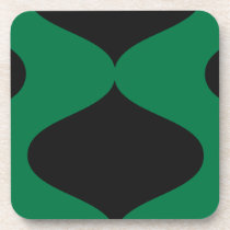 Black and Green Smooch Beverage Coaster