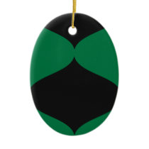 Black and Green Smooch Ceramic Ornament