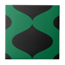 Black and Green Smooch Ceramic Tile