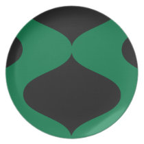 Black and Green Smooch Dinner Plate
