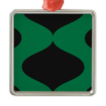Black and Green Smooch Metal Ornament