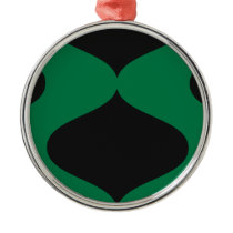 Black and Green Smooch Metal Ornament