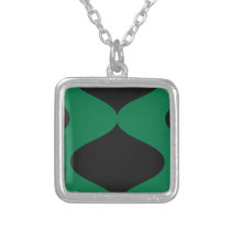 Black and Green Smooch Silver Plated Necklace