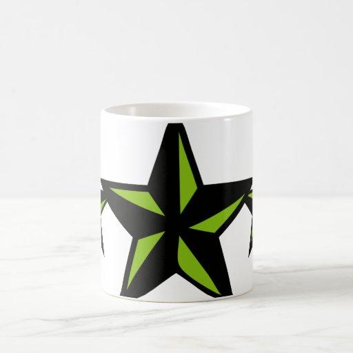 Black and Green Star Classic White Coffee Mug