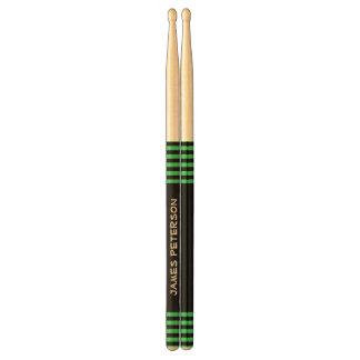Black and Green Stripes Custom Name V09 Drumsticks
