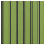 [ Thumbnail: Black and Green Stripes Fabric ]