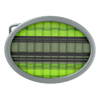 Black and green stripes retro graphic design belt buckle