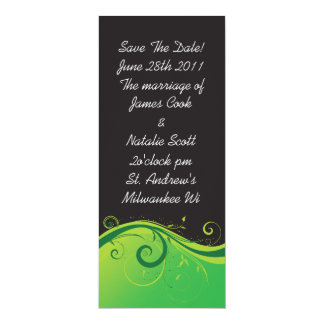 """Black and Green Swirl """"Save the Date"""" invite"""