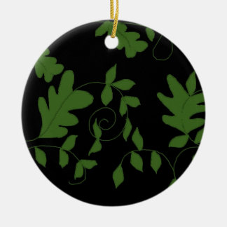 Black and Green Vines and Leaves Ceramic Ornament