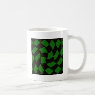 Black and Green Warped Checkerboard Coffee Mug