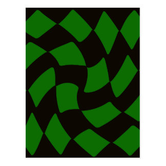 Black and Green Warped Checkerboard Postcard