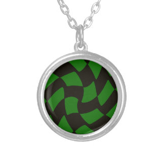 Black and Green Warped Checkerboard Silver Plated Necklace