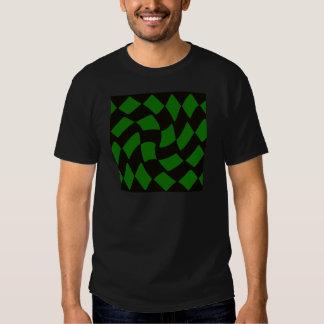 Black and Green Warped Checkerboard T-Shirt