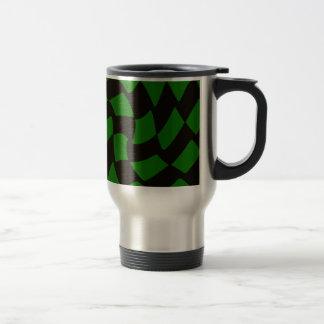 Black and Green Warped Checkerboard Travel Mug