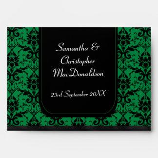 Black and green wedding damask envelope