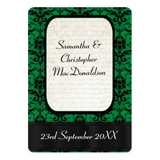 Black and green wedding favor thank you tag large business card
