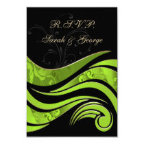 black and green wedding RSVP Standard 3.5 x 5 Card