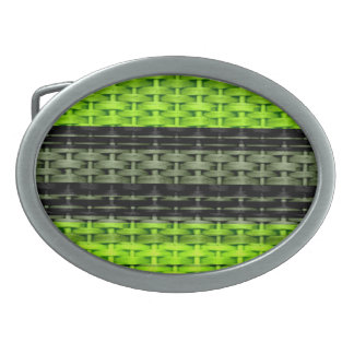 Black and green wicker retro graphic design belt buckle