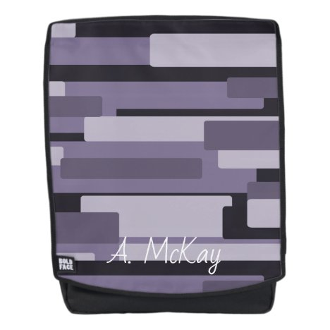 Black and Grey Abstract Monogram Everyday Backpack
