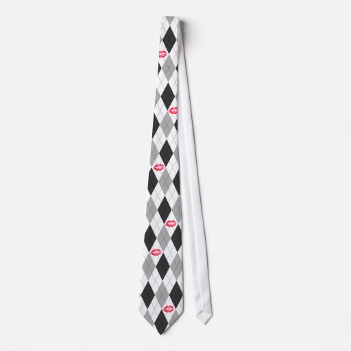 Black and Grey Argyle and Kisses Tie