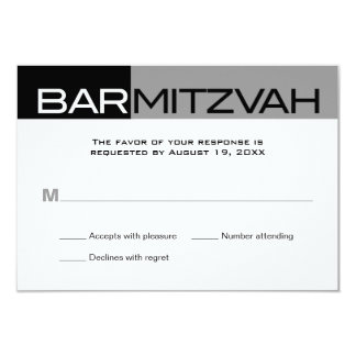 Black and Grey Block Bar Mitzvah Reply RSVP 3.5x5 Paper Invitation Card