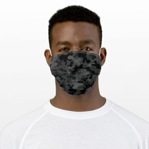 Black and grey camouflage pattern cloth face mask