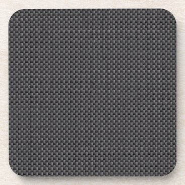 Beach Themed Black and Grey Carbon Fiber Polymer Drink Coaster