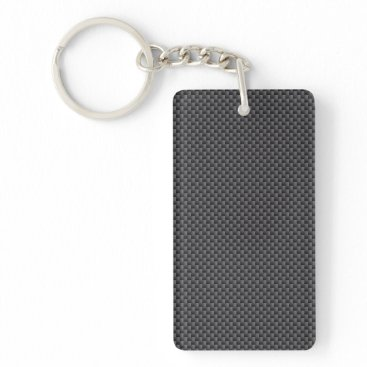 Halloween Themed Black and Grey Carbon Fiber Polymer Keychain