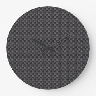 Black and Grey Carbon Fiber Polymer Large Clock
