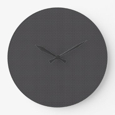Beach Themed Black and Grey Carbon Fiber Polymer Large Clock