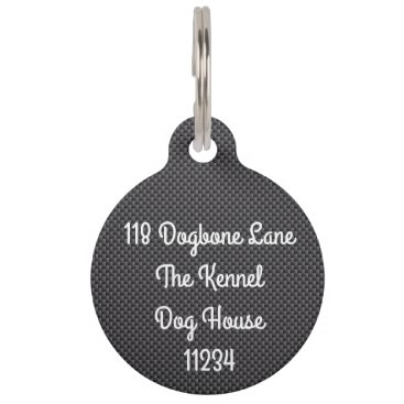 Beach Themed Black and Grey Carbon Fiber Polymer Pet ID Tag