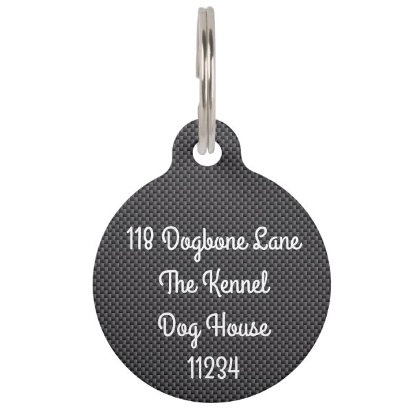 Black and Grey Carbon Fiber Polymer Pet ID Tag
