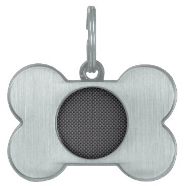 Beach Themed Black and Grey Carbon Fiber Polymer Pet Name Tag