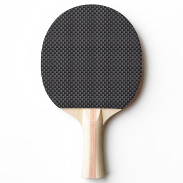 Beach Themed Black and Grey Carbon Fiber Polymer Ping Pong Paddle