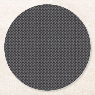 astroskins Black and Grey Carbon Fiber Polymer Round Paper Coaster