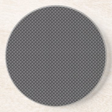 Beach Themed Black and Grey Carbon Fiber Polymer Sandstone Coaster