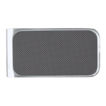 Valentines Themed Black and Grey Carbon Fiber Polymer Silver Finish Money Clip