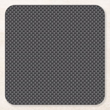 astroskins Black and Grey Carbon Fiber Polymer Square Paper Coaster