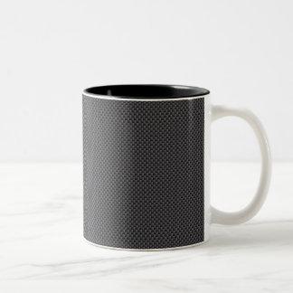 Black and Grey Carbon Fiber Polymer Two-Tone Coffee Mug