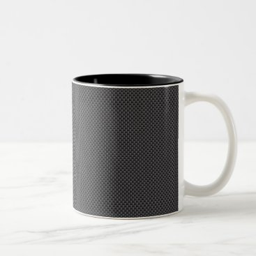 Halloween Themed Black and Grey Carbon Fiber Polymer Two-Tone Coffee Mug