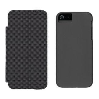 Black and Grey Carbon Fiber Polymer Wallet Case For iPhone SE/5/5s