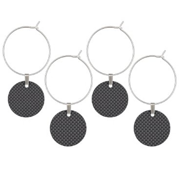 Beach Themed Black and Grey Carbon Fiber Polymer Wine Glass Charm