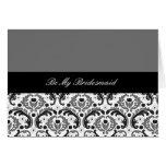 black and grey damask be my bridesmaid card