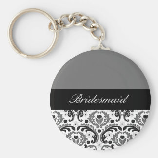 black and grey damask bridesmaid keychain