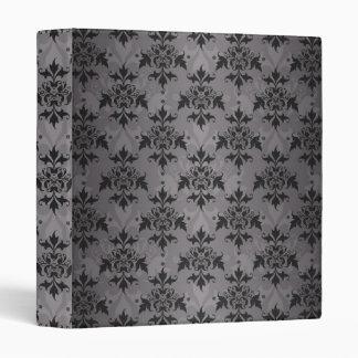 Black and Grey Damask Pattern 3 Ring Binder