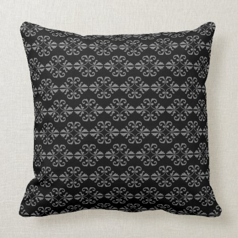 Black and Grey Damask Throw Pillow