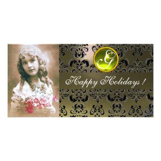 BLACK AND GREY DAMASK Yellow Topaz Monogram Photo Cards